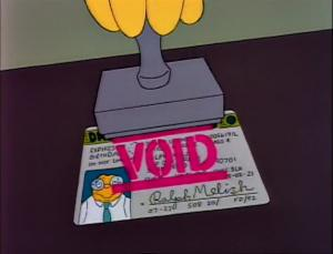 Void Driver's License (credit: The Simpsons/FOX)