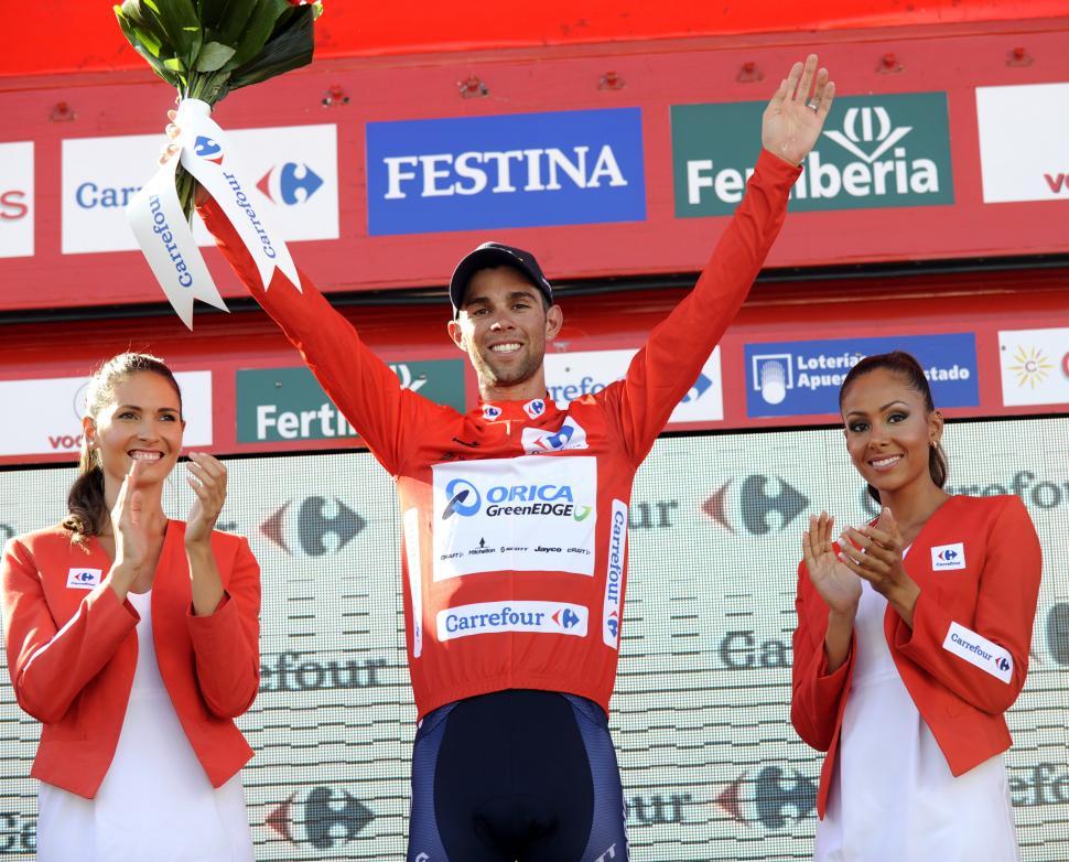 Vuelta 2014 - Michael Matthews in leader's jersey (credit Unipublic. Graham Watson)