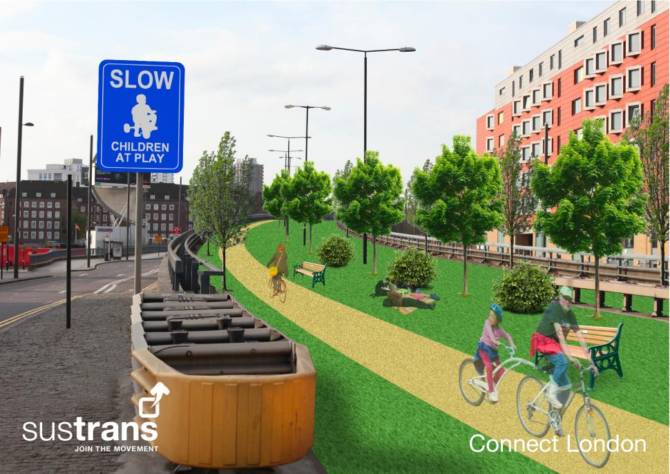 Sustrans Bow Flyover artists' impression 'after'