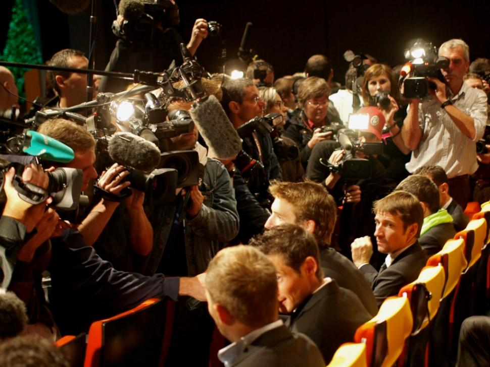 Andy Schleck faces the press at the 2011 Tour de France Presentation © Simon MacMichael