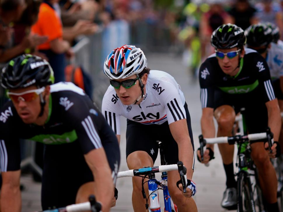 Geraint Thomas flies the British flag in the capital (copyright Simon MacMichael)