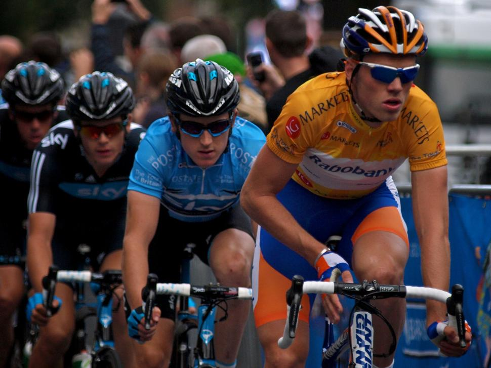 Tour of Britain 2011: Overall champ Lars Boom tracked by points jersey winner Geraint Thomas © Simon MacMichael.jpg