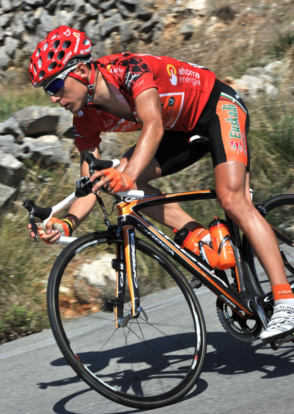 Igor Anton in the leader's jersey of the 2010 Vuelta (copyright- Unipublic:Graham Watson)