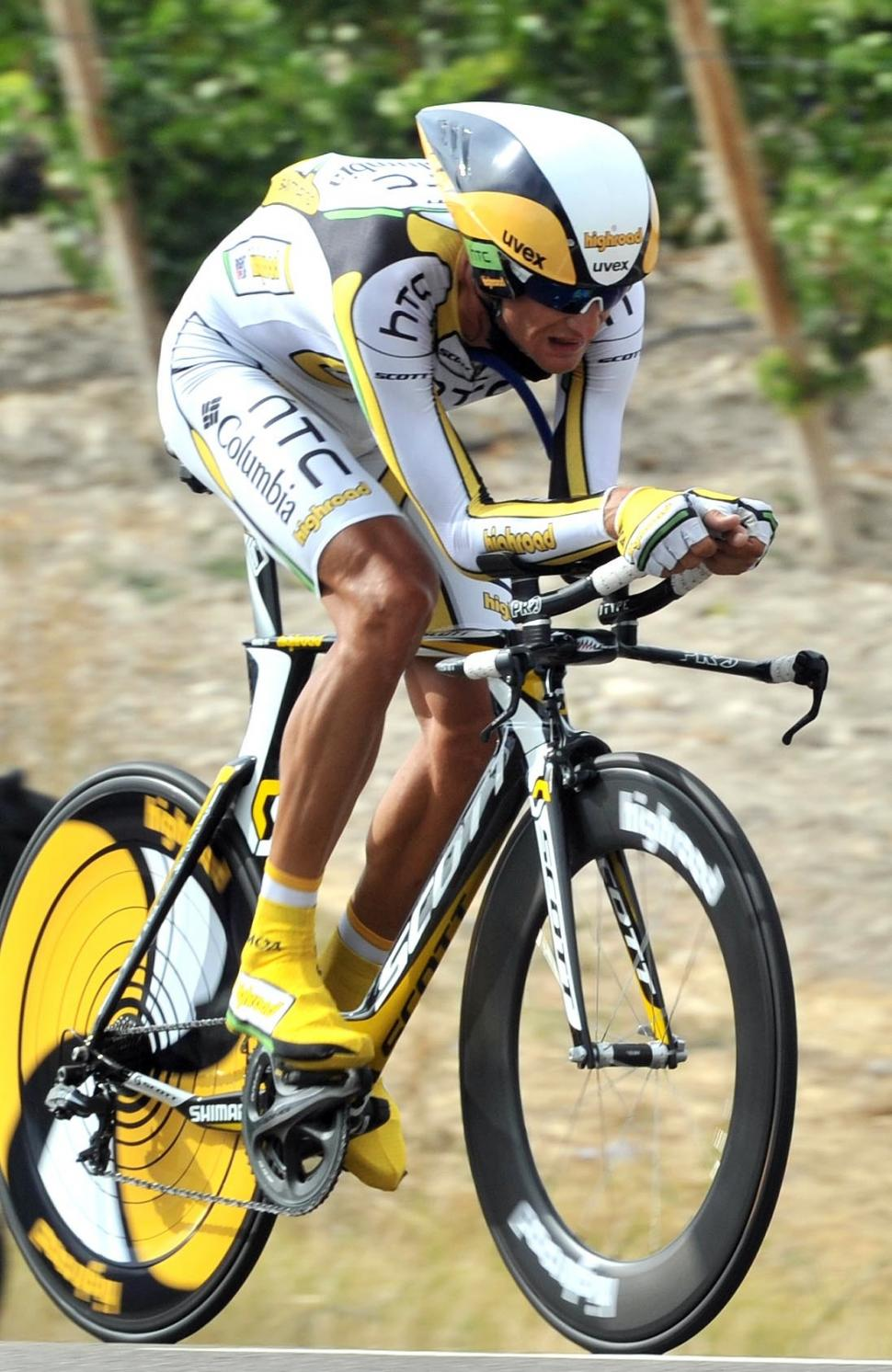 Peter Velits on his way to winning Stage 17 of the 2010 Vuelta (copyright - Unipublic:Graham Watson)