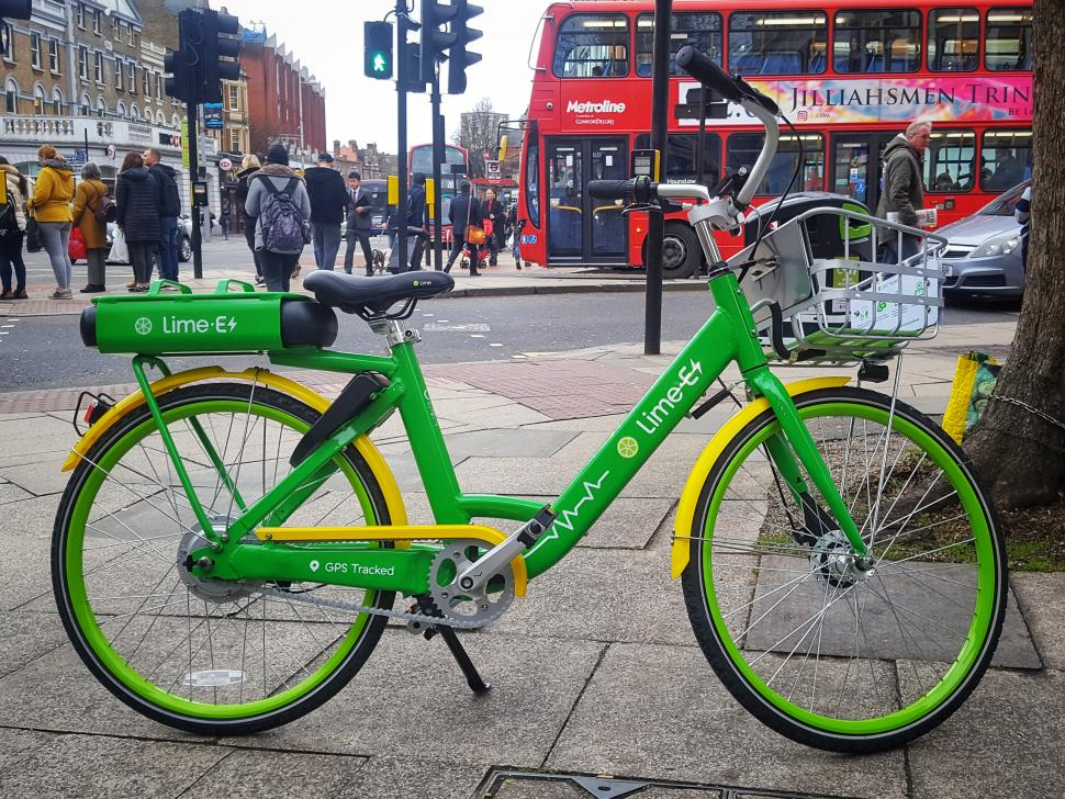 Lime-E bike in Ealing (copyright Simon MacMichael)