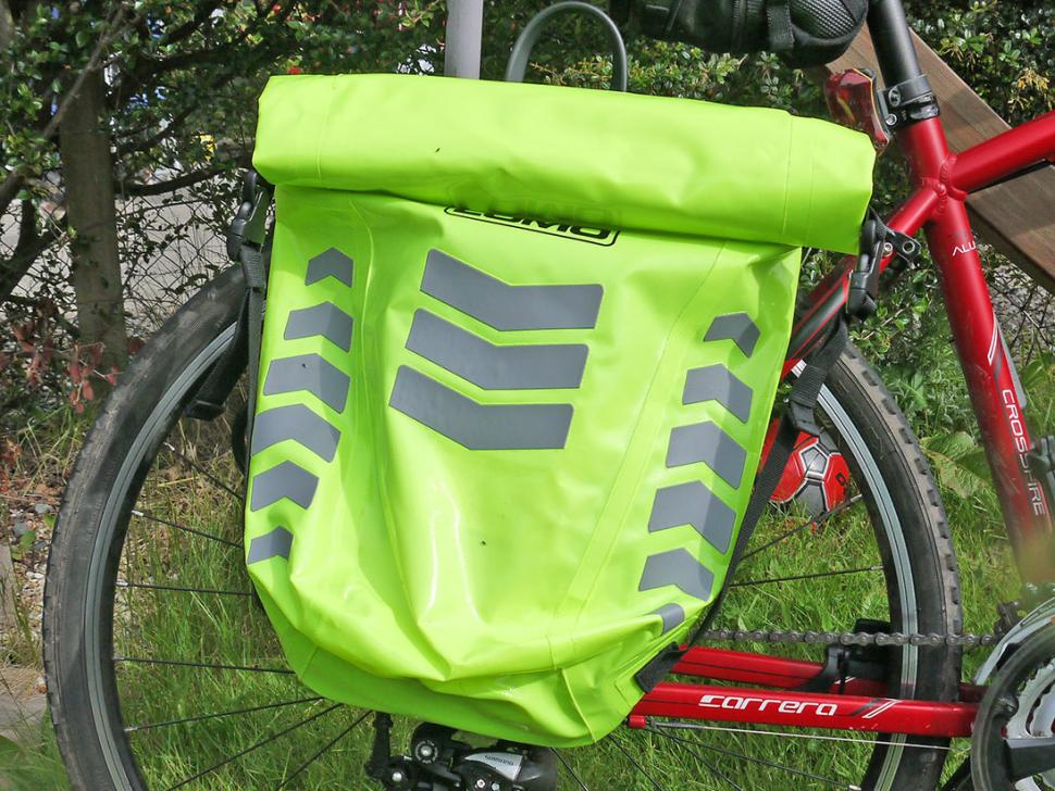 Lomo Dry Pannier Bag Hi-Vis - on bike.jpeg