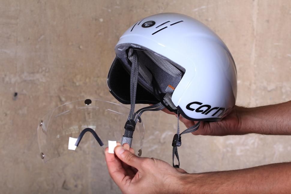 Planet X Carnac Kronus Time Trial Helmet - visor going on 1.jpg