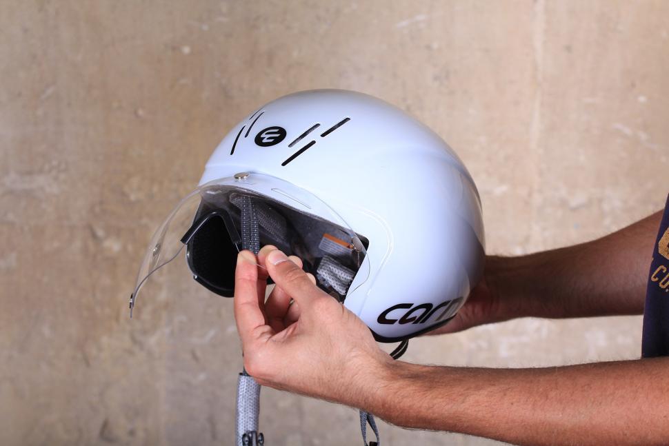 Planet X Carnac Kronus Time Trial Helmet - visor going on 2.jpg