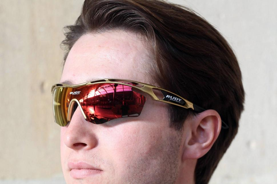 Rudy Project Tralyx Gold Velvet Rp Optics Multilaser Orange Sunglasses - worn.jpg