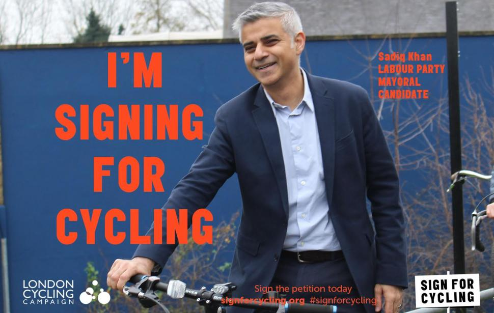 Sadiq Khan signs for cycling (image courtesy of London Cycling Campaign)