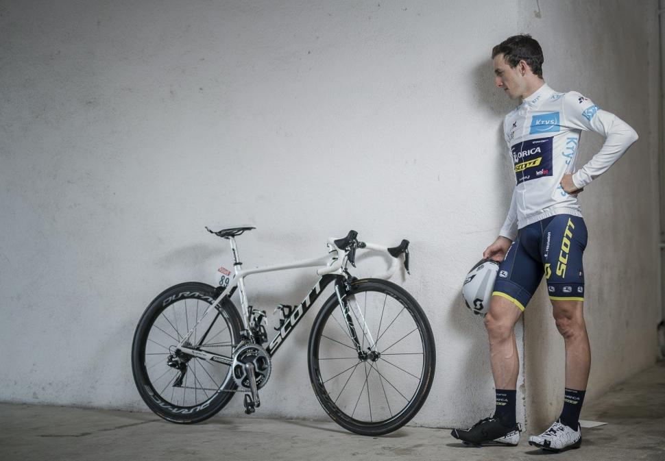 Thumbnail Credit (road.cc) (Photo: K Ramon): Simon Yates Scott Addict white jersey special edition photo credit K Ramon)