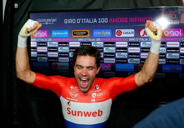 Tom Dumoulin realises he has won the 100th Giro d'Italia  (picture credit  LaPresse - D'Alberto - Ferrari - Paolone - Spada).jpg