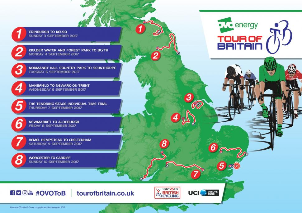 e38d41a754fc Tour of Britain 2017 route revealed with Edinburgh start and Cardiff ...
