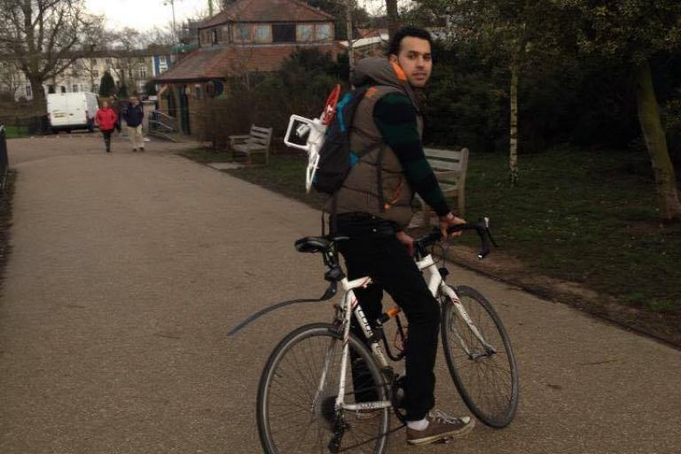 Amine Khadiry with his retrieved bike
