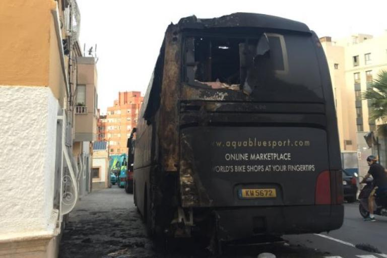 Aqua Blue team bus after arson attack (via Twitter).JPG