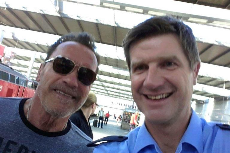 Arnold Schwazenegger caugh cycling through German station - image via Bundespolezei Twitter.jpg