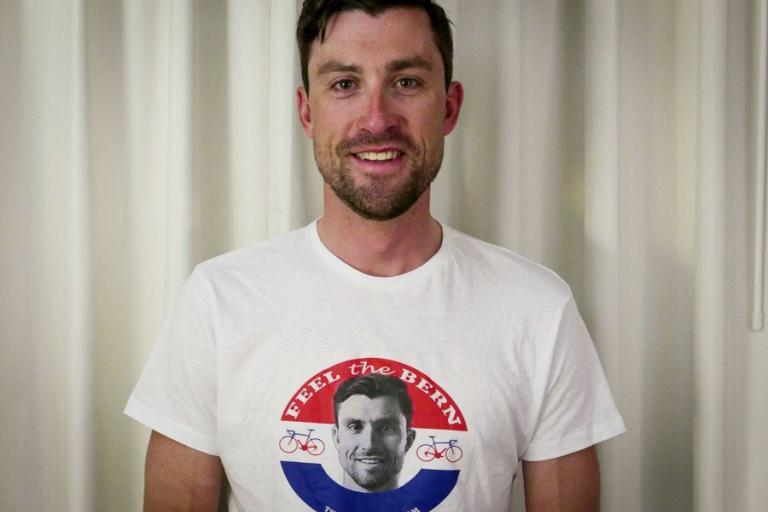 Bernie Eisel in Feel The Bern t-shirt (picture credit - The Peloton Brief).jpg