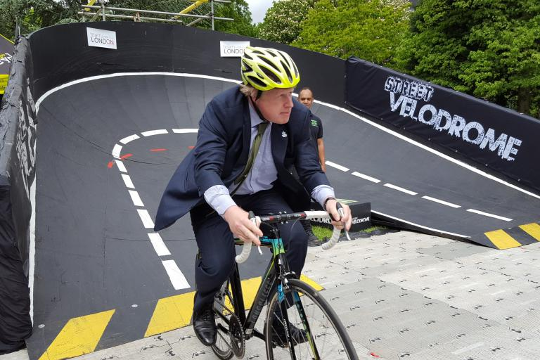 Boris Johnson at the Street Velodrome in London image via Street Velodrome