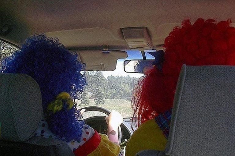 Clowns driving (CC licensed by oddharmonic via Flickr).jpg