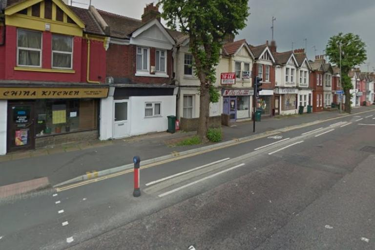 Cycle lane on Lewes Road, Brighton (via StreetView).jpg