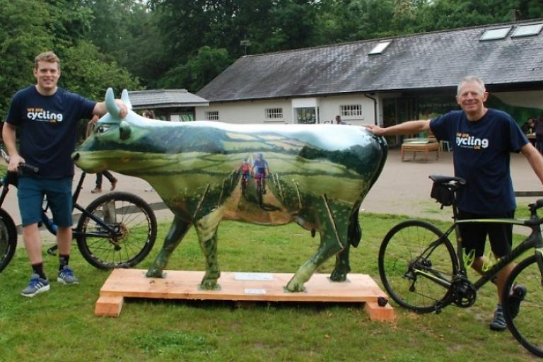 Cycling Moo Kay with artist Charles Rowbotham (L) and Doug Clare (Cycling UK).jpg