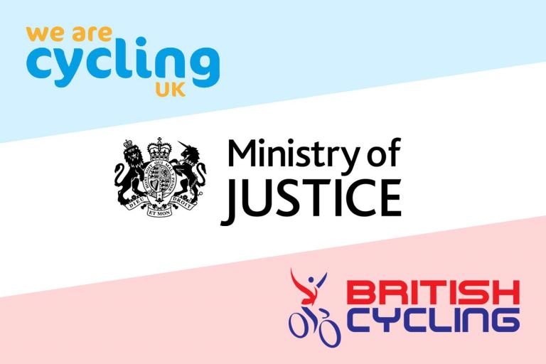 Cycling UK, Ministry of Justice and British Cycling logos.jpg