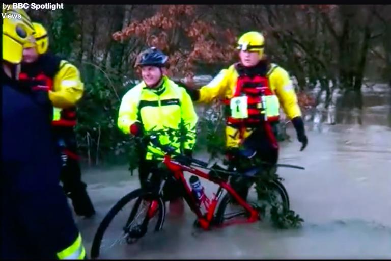 Cyclist saved from River Teign (source - video by Mark Speed).jpg