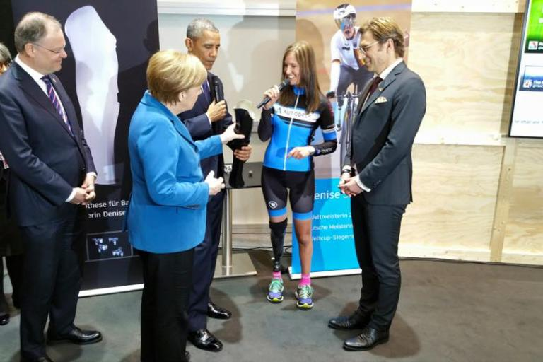 Denise Schindler with Angela Merkel and Barack Obama (source Facebook).jpg