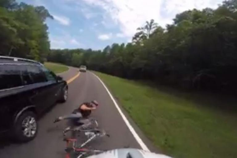 Driver hits cyclist in Natchez Trace Parkway, Franklin, TN (Facebook video still).JPG