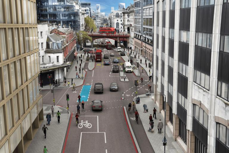 Farringdon Road N-S cycle superhighway extension graphic