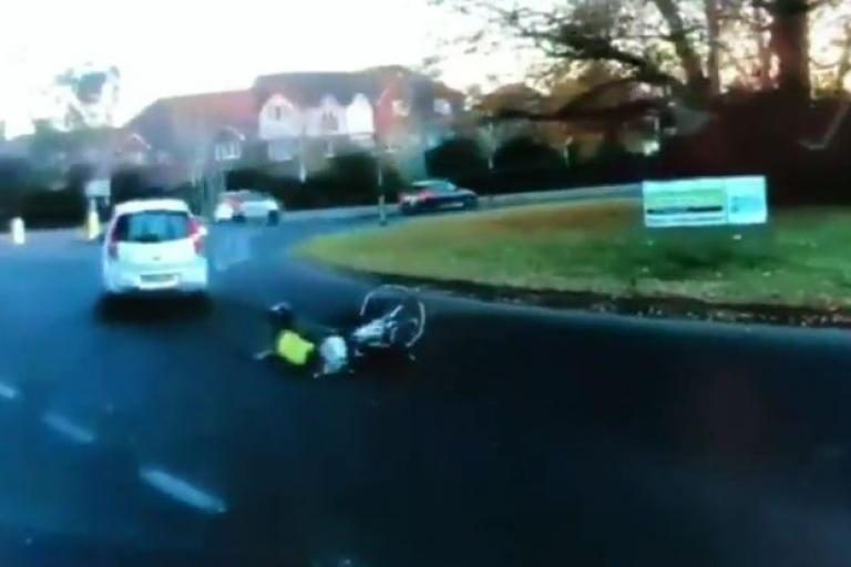 Horsham roundabout (picture Mike Dearsley Twitter video still).JPG