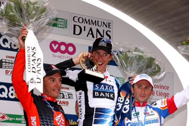 Andy Schleck still hungry on the podium Liege Bastogne Liege 2009 (© Photosport International)