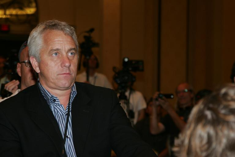 Greg Lemond gives Lance the big stare
