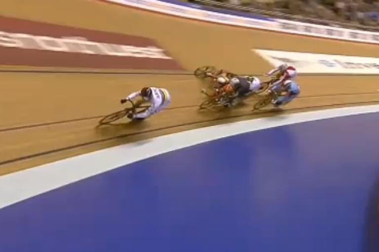 Manchester World Cup keirin crash