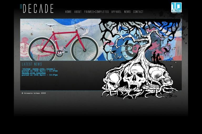 Decade website homepage