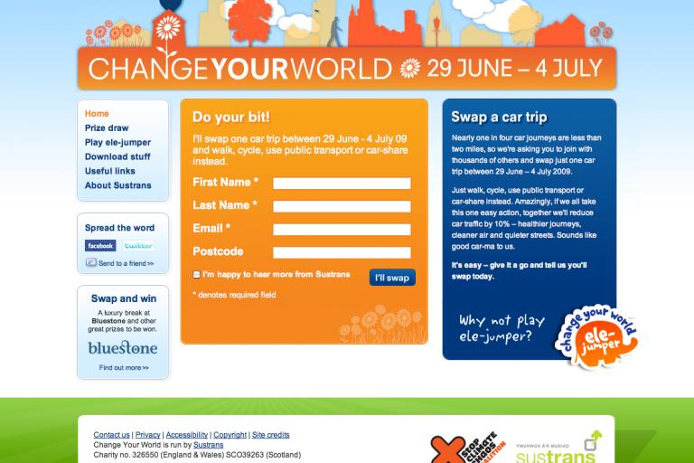 Change Your World homepage