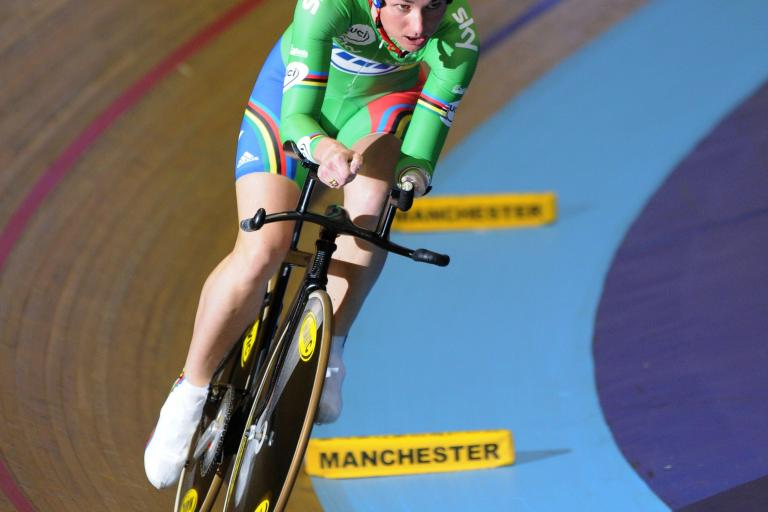 Sarah Storey on the Manchester Velodrome track.jpg