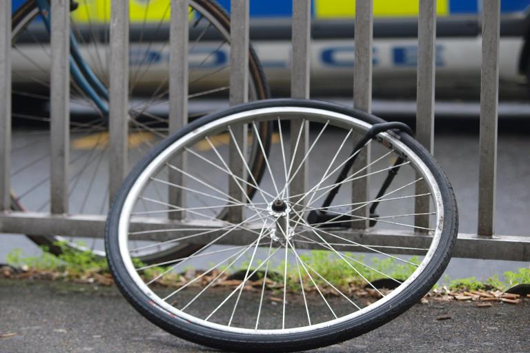 Wheel from stolen bike © Simon MacMichael.JPG