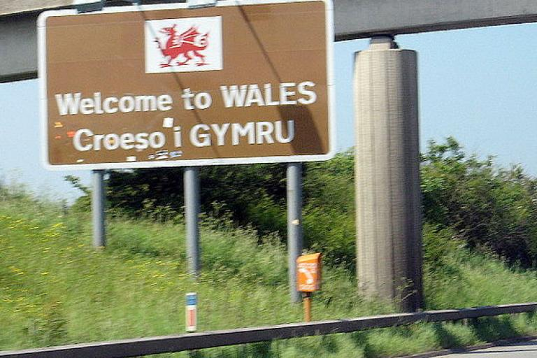 Wales welcome sign