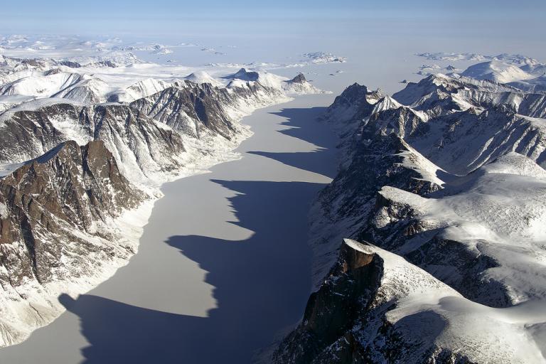 The uncompromising Baffin Island landscape (image CC lisenced via Flickr user NASA ICE)