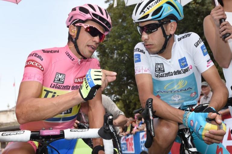 Alberto Contador and Fabio Aru at 2015 Giro d'Italia (picture ANSA, Dal Zennaro)
