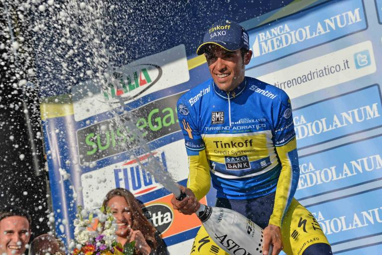 Alberto Contador in 2014 Tirreno leaders' jersey (picture LaPresse)