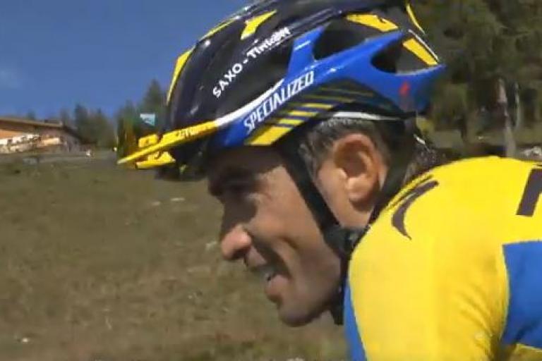 Alberto Contador on the Mortirolo (RhxDUE YouTube still)