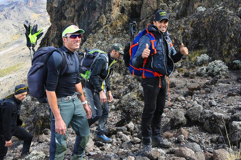 Alberto Contador on the way to the summit of Kilimanjaro (photo Team Tinkoff-Saxo)