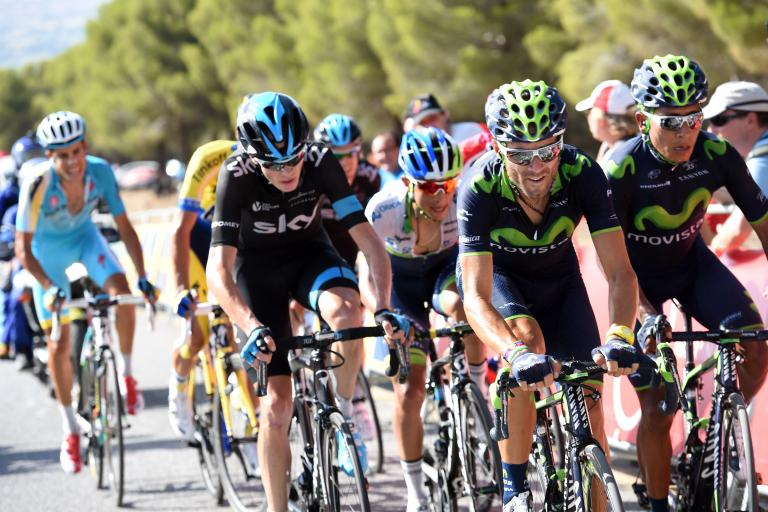 Alejandro Valverde on way to winning Stage 6 of 2014 Vuelta (credit Unipublic, Graham Watson)