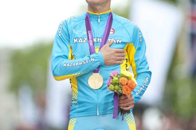 Alexandr Vinokourov on the Olympic podium (copyright britishcycling.org.uk)