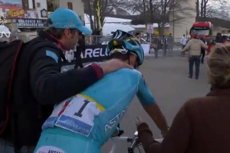 Astana soigneur Michele with Vincenzo Nibali
