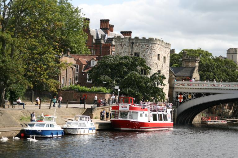 Boats on the River Ouse at York beside Lendal Bridge pic by Steve FE Cameron.JPG
