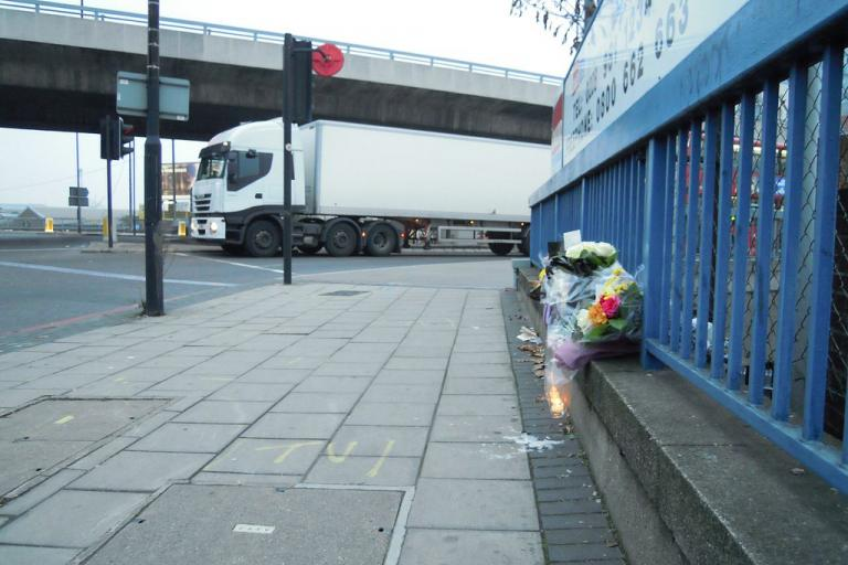 Bow Roundabout lorry and flowers (credit- London Cycling Campaign under Creative Commons CC BY-SA 2.0)