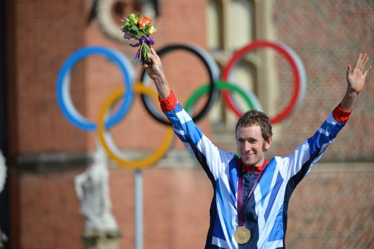 Bradley Wiggins on the podium at London 2012 (copyright www.britishcycling.org.uk)